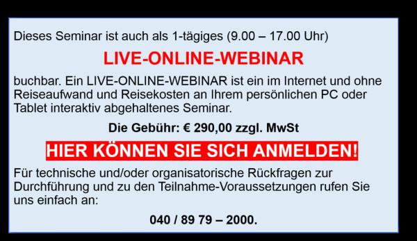 Webinar für 290,00 Euro
